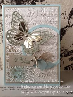 SU Butterfly thinlits, Lovey lace embossing folder, dictionary background stamp Paper Crafts - The U Pretty Cards, Cute Cards, Diy Cards, Tarjetas Diy, Butterfly Cards, Butterfly Template, Paper Butterflies, Flower Template, Embossed Cards