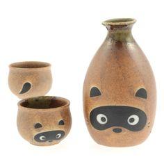 Raccoon Sake Set  by Kotobuki Trading Co.