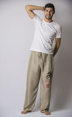 Chinese Writing Men's Thai Yoga Pants in Khaki – Harem Pants