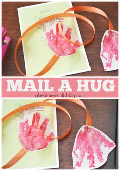 """grandparents day crafts for preschoolers Our deployment """"handprint mail a hug"""" kid craft idea is perfect for kids to make & mail to friends & family serving overseas right now! Glue Crafts, Crafts To Do, Crafts For Kids, Kid Craft Gifts, Projects For Kids, Diy For Kids, Craft Projects, Craft Ideas, Play Ideas"""