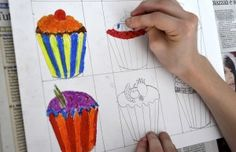 Cupcakes inspired by Wayne Thiebaud - Show students how to use size to create a sense of space. #artprojectideas