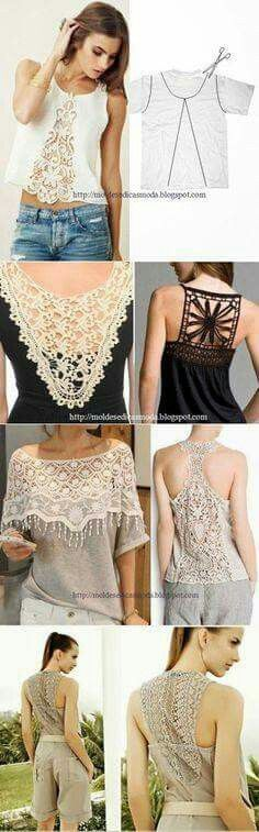 Lace can take an old shirt and make it new again.