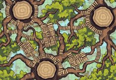 The Oakenspire Treetops, a FREE battle map for D&D / Dungeons & Dragons, Pathfinder, Warhammer and other table top RPGs. Tags: ancient, canopy, elf, elven, forest, high, magical, sky, trees, treetop, woods