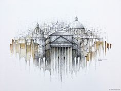 ◾Original painting on canvas ◾ black ink, water, coffee, ◾60x40cm ◾Created 04/2019 ◾© 2020 PAVEL FILGAS ART ◾#Rome #Roma #Italy #StPetersBasilica #Pantheon #Colosseum #drawing #sketching #inkdrawing #pavelfilgasart #painting #architecture #architecturedrawing #archsketch #painting #niceart #originaldrawing #archsketch #inspiration #citydrawing #handmade #design #homedecor #style #interiordesign City Drawing, Drawing Art, Building Sketch, Web Gallery, Cool Art, Original Paintings, Around The Worlds, Watercolor, Photo And Video