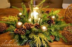 another view Pine Wreath or pine clippings (I use a faux wreath and add real pine cuttings) Candle Glass vase or mason jar Faux snow (the only thing I purchased but you could use epsom salts too) Optional: ornaments