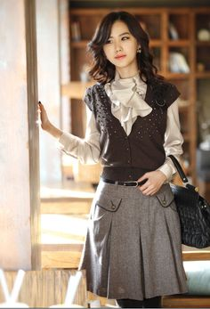 Wholesale Elegant & Trendy Pure Color Stand Collar Lotus Leaf Long sleeve Blouse----Gray top dresses