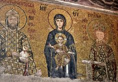 Picture of Virgin Mary holding the Christ Child Byzantine mosaic art Interior of Hagia Sophia Museum in Istanbul, Turkey stock photo, images and stock photography. Byzantine Icons, Byzantine Art, Byzantine Mosaics, Statues, Hagia Sophia Istanbul, Madonna And Child, Religious Icons, Religious Art, 12th Century