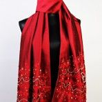Regal in Red Shawl: Be the talk of the evening with this one of a kind piece! Gorgeous red silk dupion shawl hand embroidered and beaded with Swarovski crystals. $500.00