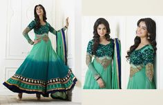 Scintillating Deep Sea Green & Geenish Blue Salwar Kameez | StylishKart.com
