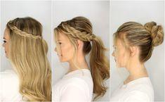 Drei Flechtfrisuren zum Nachstylen, fertig in fünf Minuten, offenes Haar, Pferdeschwanz und Dutt Frisur