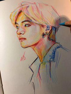 Ref pic ©️  fan art drawing Kpop Drawings, Pencil Art Drawings, Art Drawings Sketches, Taehyung Fanart, Korean Art, Kpop Fanart, Art Sketchbook, Art Inspo, Art Reference