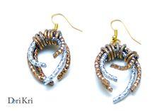 Orecchini particolari - orecchini metallo dorato scuro e argentato  -