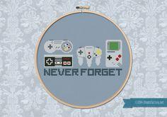 Never Forget  Game Controllers  Cross stitch PDF di cloudsfactory