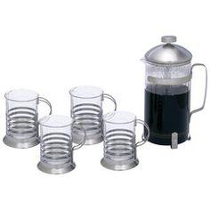 Wyndham House 1.06qt (1l) French Press Coffee/ Tea Set- 5pc Set