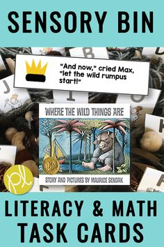 This Sensory Bin Story features the picture book Where the Wild Things Are by Maurice Sendak. This is a wonderful read aloud to add to your lessons anytime of year! Math Literacy, Classroom Activities, Book Activities, Learning Resources, Co Teaching, Teaching Reading, Teaching Ideas, Math Task Cards, Vocabulary Cards