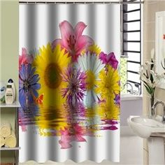 Gorgeous Vivid Water Flower Bathroom Shower Curtain Custom Curtains