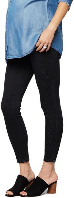 A Pea in the Pod Luxe Essentials Denim Secret Fit Belly Embroidered Skinny Ankle Maternity Jeans