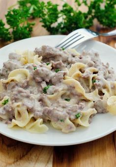 Mom's recipe for the best homemade beef stroganoff. No cream soups and made from scratch but still easy! So good and always a hit with my family!