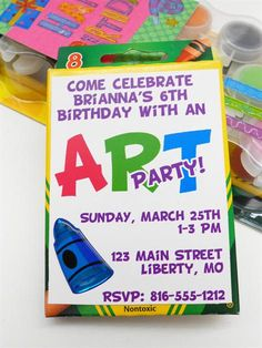 Pack of Crayons as the Invitation to an Art Themed Birthday Party