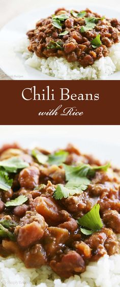BEST chili beans EVER! Louisiana style chili beans with ground beef and pinto beans, served over rice. Our family's favorite chili beans! On SimplyRecipes.com