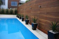 pool landscaping ideas  Love the wood walls - great color - with the black planters.
