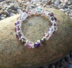 Lilac and Silver elasticated chain bracelet - handmade so each item is unique
