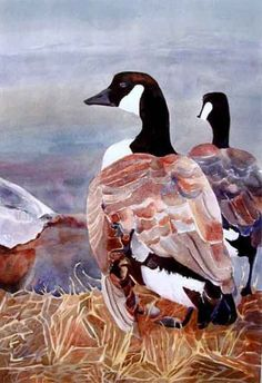 Canadian Geese at Water's Edge, painting by artist Kay Smith