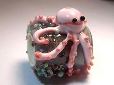 Pink Octopus Dread Bead  Handmade Lampwork Glass by VedasBeads, $35.00