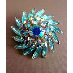 Aqua Blue Navettes ABs JUDY LEE Brooch, Swirl, Gold Trim, Vintage ($35) ❤ liked on Polyvore featuring jewelry, brooches, aqua jewelry, aqua blue jewelry, swirl jewelry, vintage jewellery and vintage brooches