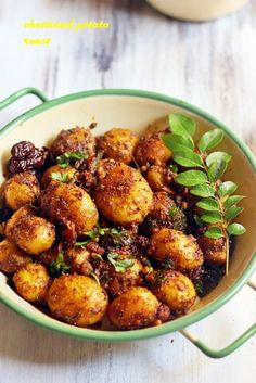 Chettinad potato roast with step by step photos. A very tasty and easy to make side dish for rice. Potato roast with chettinad masala is a different yet flavorful potato fry that you can make in mi… Aloo Recipes, Roast Recipes, Curry Recipes, Vegetable Recipes, Vegetarian Recipes, Cooking Recipes, Paratha Recipes, Spicy Recipes, Recipies