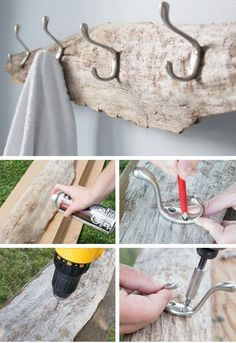 So simple yet beautiful! Transform a piece of driftwood from the beach into a beautiful and useful DIY rustic towel rack, coat hooks or hat rack. Step-by-step tutorial for this #coastal decor idea is included! #towelrack #coastalstyle #coastalbathroom #driftwood Rustic Towel Rack, Rustic Coat Rack, Small Bathroom Storage, Bathroom Organization, Bathroom Towel Hooks, Shower Towel, Bathroom Styling, Ideias Diy, Diy Storage