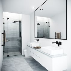 Bathroom decor for the master bathroom remodel. Discover bathroom organization, bathroom decor tips, bathroom tile a few ideas, master bathroom paint colors, and much more. Modern Bathroom Design, Bathroom Interior Design, Contemporary Bathrooms, Modern Master Bathroom, Simple Bathroom, Minimalist Bathroom Design, Long Narrow Bathroom, Modern Faucets, Modern Luxury Bathroom