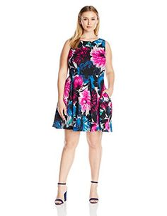 Taylor Dresses Womens Plus Size Mixed Bouquet Floral Fit and Flare Scuba RaspberryMulti 18W *** Find out more about the great product at the image link.