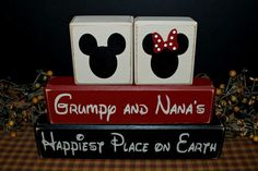 Mickey & Minnie Mouse Grumpy and Nana's Happiest Place on Earth custom personalized gift rustic distressed wood blocks sign by PrimitiveHodgePodge