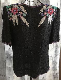 Vintage Laurence Kazar Sequin Beaded Sparkle 100% Silk Top Blouse Medium #LaurenceKazar #Top