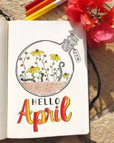 15 Wonderful April Bullet Journal Cover Pages to I. - Woman Casual 15 Wonderful April Bullet Journal Cover Pages to I. 15 Wonderful April Bullet Journal Cover Pages to Inspire You – April Bullet Journal, Bullet Journal Headers, Bullet Journal Cover Page, Bullet Journal Notebook, Bullet Journal School, Bullet Journal Layout, Journal Covers, Art Journal Pages, Journal Ideas