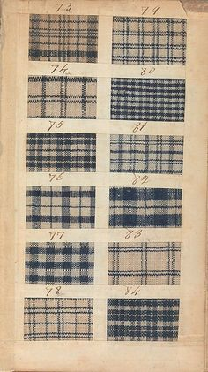 18th C. Linen checks   Textile Sample Book MET 156.4 T31 date 1771