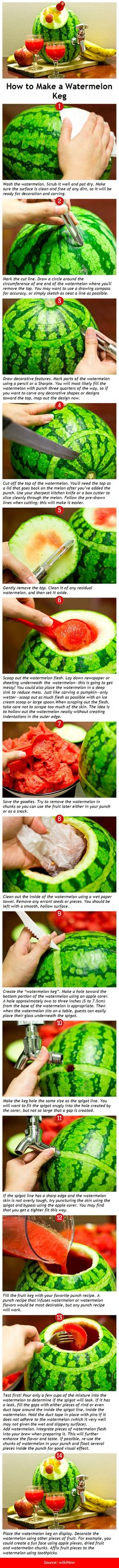 How to Make a Watermelon Keg/Barrell  fill with favorite fruit punch for birthday or holiday