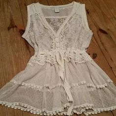 Charlotte Russe Lace Top Can be worn open as a vest or buttoned/tied up as a top. Beautiful lace, crochet, and ruffle details. Charlotte Russe Tops Blouses