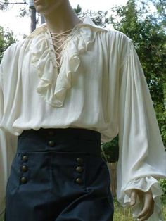 This Poet Shirt Musketeer Shirt Renaissance Pirate Ruffled, Lace Up Front Shirt Adult Made to Order is just one of the custom, handmade pieces you'll find in our shirts & tees shops. Mode Outfits, Fashion Outfits, Fashion Shirts, Renaissance Pirate, Renaissance Shirt, Renaissance Clothing, Renaissance Fashion, Poet Shirt, Pirate Shirts