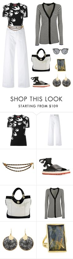 """""""San Juan Capistrano"""" by karen-galves ❤ liked on Polyvore featuring McQ by Alexander McQueen, Vince, Karl Lagerfeld, Marni, Jill Stuart, Proenza Schouler, Carousel Jewels, Ippolita, Mykita and whitejeans"""