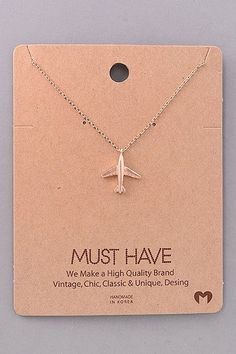 "Rose gold airplane necklace. 16"" long."