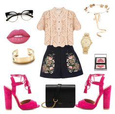"""""""#1"""" by olivia-lefranc ❤ liked on Polyvore featuring Vilshenko, self-portrait, Qupid, Mulberry, Eugenia Kim, Tiffany & Co., Burberry, Lime Crime, Michael Kors and Pink"""