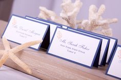 Nautical Beach Escort Cards Place Cards Anchor Sailor Design Table Assignments Name Tags Weddings Rehearsal Dinner Reception Decor - DEPOSIT. $10.00, via Etsy.