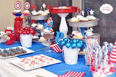 Awesome Captain America birthday party and after the 4th, decorations will be super cheap!