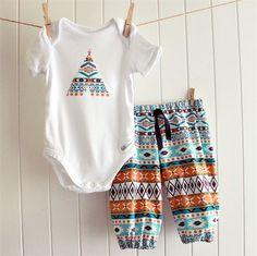 baby boy outfit | onesie & pants | aztec print teepee | lolli & bean | madeit.com.au