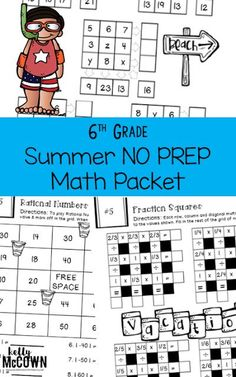 THE BEST SUMMER REVIEW! The 6th Grade Summer Math Review packet covers all 6th grade math material for rising sixth graders. Get your kids ready for 7th grade this Summer. Review ratios, unit rates, fractions, decimals, rational numbers, expressions, equations, inequalities, variables, area, surface area, volume, statistics, distributions, and much more. Download the math worksheets today! Grade 6 Math, Sixth Grade, Math Resources, Math Activities, Holiday Activities, Math Worksheets, Summer Activities, Math Stations, Math Centers