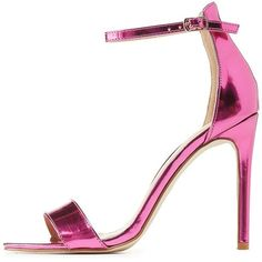 Charlotte Russe Metallic Two-Piece Dress Sandals ($20) ❤ liked on Polyvore featuring shoes, sandals, heels, charlotte russe, pink, stiletto heel sandals, wrap sandals, ankle wrap sandals, cushioned sandals and sexy stilettos