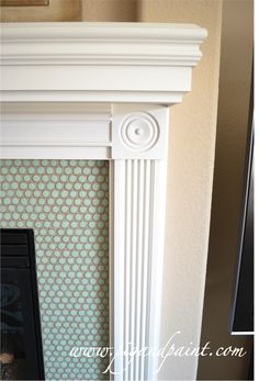 Pig and Paint: Fireplace: Grout Commitment Pretty! Mosaic Tile Fireplace, Fireplace Tile Surround, Grey Fireplace, Fireplace Remodel, Fireplace Mantle, Fireplace Surrounds, Paint Fireplace, Blue Grey Rooms, Home Upgrades