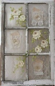 Vintage window decorated with lace and hand painted roses   Jo-Anne Coletti